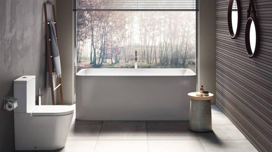 Tendência minimalista no espaço de banho com produtos da Roca