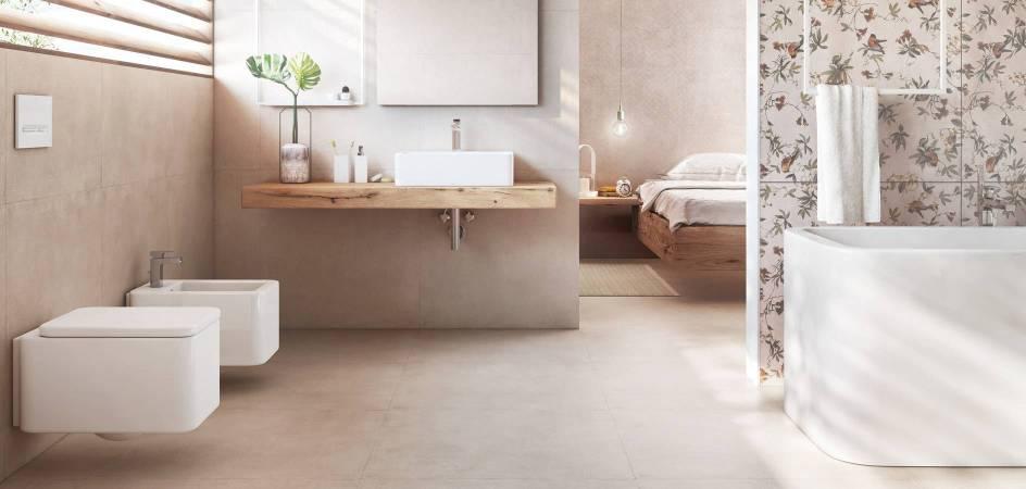 Banho minimalista com produtos da Roca