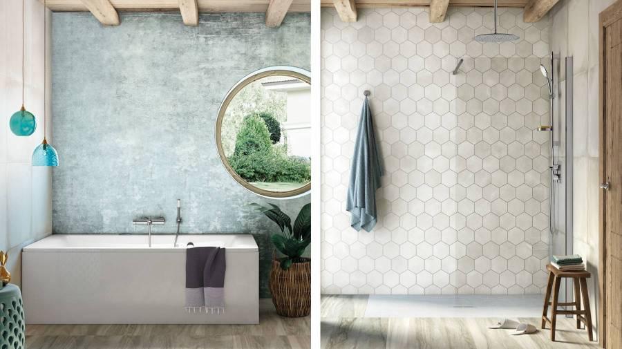 Banheira e base de duche da Roca no mesmo espaço de banho