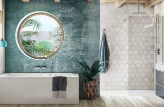 Duche e banheira de Roca no espaço de banho